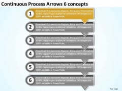 Continuous Process Arrows 6 Concepts Free Flow Chart Maker PowerPoint Templates