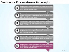 Continuous Process Arrows 6 Concepts Hydraulic Schematic PowerPoint Slides