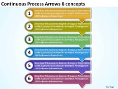Continuous Process Arrows 6 Concepts Oil Flow Chart PowerPoint Slides
