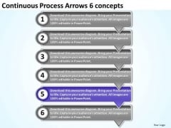 Continuous Process Arrows 6 Concepts Ppt Freeware Flowchart PowerPoint Templates