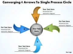 Converging 4 Arrows To Single Process Circle Pie Diagram PowerPoint Templates