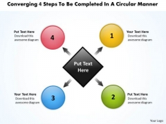 Converging 4 Steps To Be Completed A Circular Manner Pie Diagram PowerPoint Templates