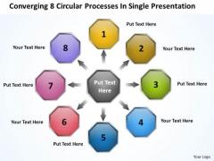 Converging 8 Circular Processes Single Presentation Pie Diagram PowerPoint Templates