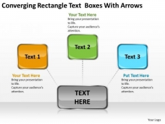 Converging Rectangle Text Boxes With Arrows Diagram Software PowerPoint Templates