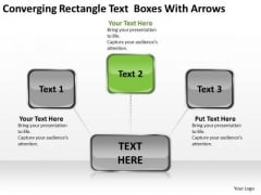 Converging Rectangle Text Boxes With Arrows Ppt Target Diagram PowerPoint Slides