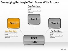 Converging Rectangle Text Boxes With Arrows Target Diagram PowerPoint Slides