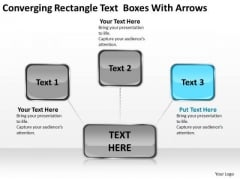 Converging Rectangle Text Boxes With Arrows Target Diagrams PowerPoint Slides