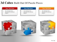Corners Of 3d Cube Puzzle Pieces PowerPoint Slides And Ppt Diagram Templates
