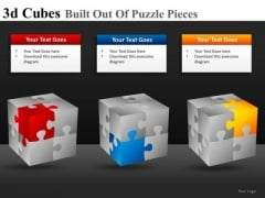 Corners Of 3d Cube Puzzle PowerPoint Templates