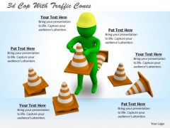 Corporate Business Strategy 3d Cop With Traffic Cones Character Modeling