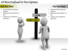 Corporate Business Strategy 3d Men Confused Two Options Character Models