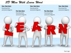 Corporate Business Strategy 3d Men With Learn Word Concepts