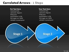 Correlated Arrows 2 Steps Technical Flow Chart PowerPoint Templates