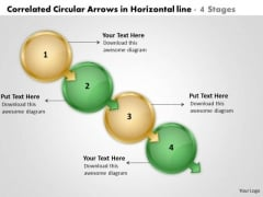 Correlated Circular Arrows In Horizontal Line 4 Stages Create Flow Charts PowerPoint Slides