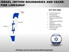 Country PowerPoint Maps Israel Within Boundaries And Ceas Fire Lines
