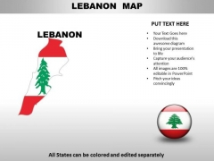 Country PowerPoint Maps Lebanon