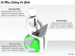 Creative Marketing Concepts 3d Man Sitting Globe Characters