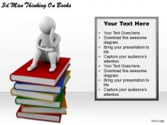 Creative Marketing Concepts 3d Man Thinking Books Business Statement