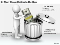 Creative Marketing Concepts 3d Man Throw Dollars Dustbin Characters
