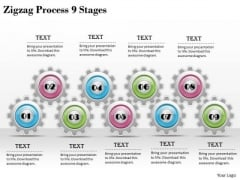 Creative Marketing Concepts Zigzag Process 9 Stages Strategies Ppt Slide