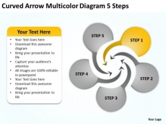Curved Arrow Multicolor Diagram 5 Steps Online Business Plan Free PowerPoint Templates