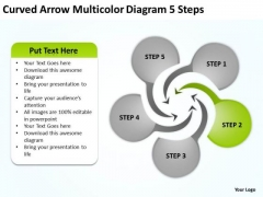 Curved Arrow Multicolor Diagram 5 Steps Sample Of Small Business Plan PowerPoint Slides