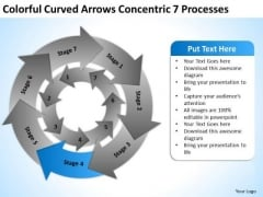 Curved Arrows Concentric 7 Processess Ppt Business Plan Online PowerPoint Templates