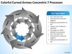 Curved Arrows Concentric 7 Processess Ppt Business Plan Template Download PowerPoint Templates