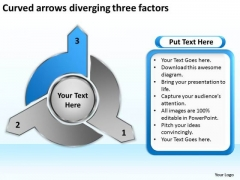 Curved Arrows Diverging Three Factors Ppt Circular Flow Network PowerPoint Templates