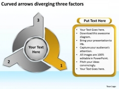 Curved Arrows Diverging Three Factors Ppt Target Diagram PowerPoint Slides