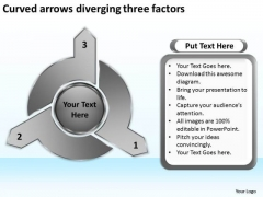 Curved Arrows Diverging Three Factors Target Diagram PowerPoint Slides