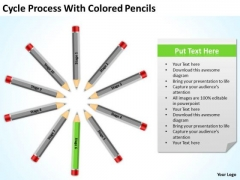 Cycle Process With Colored Pencils Ppt Business Plan Companies PowerPoint Slides