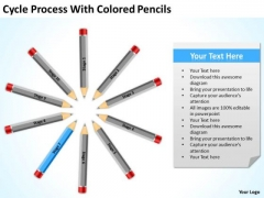 Cycle Process With Colored Pencils Ppt Business Plan PowerPoint Template
