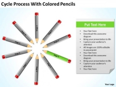 Cycle Process With Colored Pencils Ppt Business Plan PowerPoint Templates