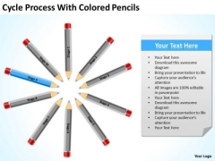 Cycle Process With Colored Pencils Ppt Business Plan Template Download PowerPoint Slides