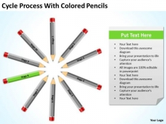 Cycle Process With Colored Pencils Ppt Business Plan Templete PowerPoint Templates