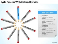 Cycle Process With Colored Pencils Ppt Business Planning PowerPoint Slides