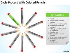 Cycle Process With Colored Pencils Ppt Writing A Business Plan Free PowerPoint Templates