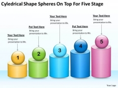 Cyledrical Shape Spheres On Top For Five Stage Ppt Business Proposal Plan PowerPoint Templates