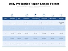 Daily Production Report Sample Format Ppt PowerPoint Presentation File Background Designs PDF