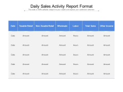 Daily Sales Activity Report Format Ppt PowerPoint Presentation Professional Visuals PDF