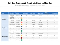 Daily Task Management Report With Status And Due Date Ppt PowerPoint Presentation Outline Elements PDF
