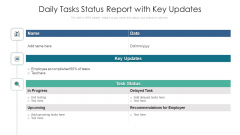 Daily Tasks Status Report With Key Updates Ppt Icon Graphics Design PDF