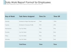Daily Work Report Format For Employees Ppt PowerPoint Presentation Layouts Example PDF