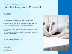 Damage Security Insurance Proposal Cover Letter For Liability Insurance Proposal Ppt Slides Graphic Tips PDF