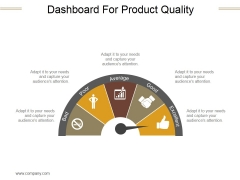 Dashboard For Product Quality Ppt PowerPoint Presentation Ideas