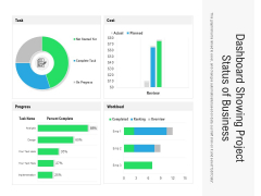 Dashboard Showing Project Status Of Business Ppt PowerPoint Presentation Infographics Graphics Download PDF