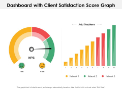 Dashboard With Client Satisfaction Score Graph Ppt PowerPoint Presentation Summary Design Inspiration PDF