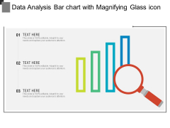 Data Analysis Bar Chart With Magnifying Glass Icon Ppt PowerPoint Presentation Icon Layouts PDF