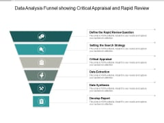 Data Analysis Funnel Showing Critical Appraisal And Rapid Review Ppt PowerPoint Presentation Model Deck